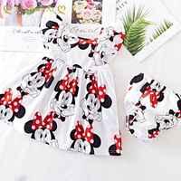 Vestido de verano para niñas pequeñas, ropa de manga voladora, de algodón, Minnie, pantalones y ropa interior, 2 uds.