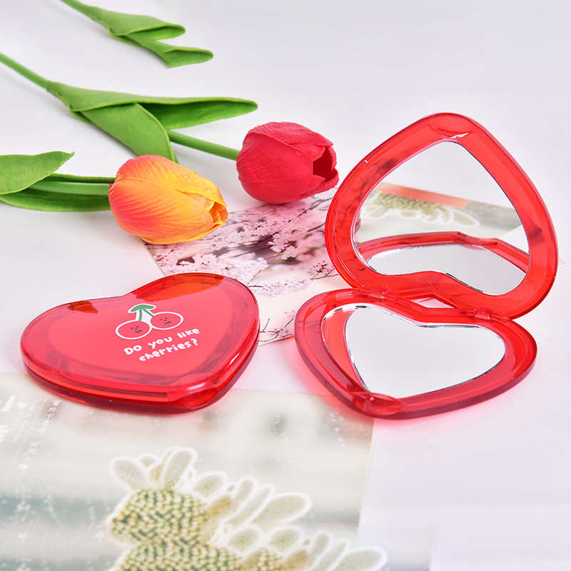 1Pc Dubbelzijdig Vouwen Cosmetische Spiegel Pocket Spiegel Draagbare Vrouwen Geschenken Hartvormige Cherry Mini Make-Up Spiegel Compact