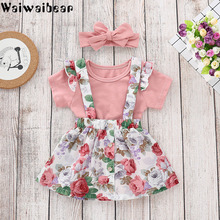 Waiwaibear Summer Baby Girls Clothes Set Children Clothing Sets Products Pink Rompers+Dress Tracksuit Kids FS01
