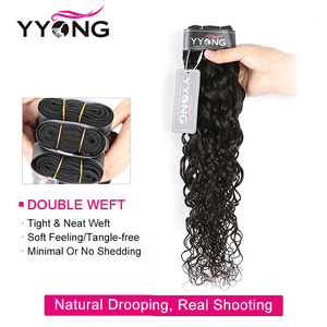 Image 4 - Tissage en lot brésilien Remy avec Lace Closure YYong, cheveux naturels ondulés, lot de 3