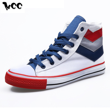 New High Top Canvas Shoes Men Sneakers Flat Casual Shoes Lace-up Classic Round Toe Retro Mixed Color Footwear Back to School