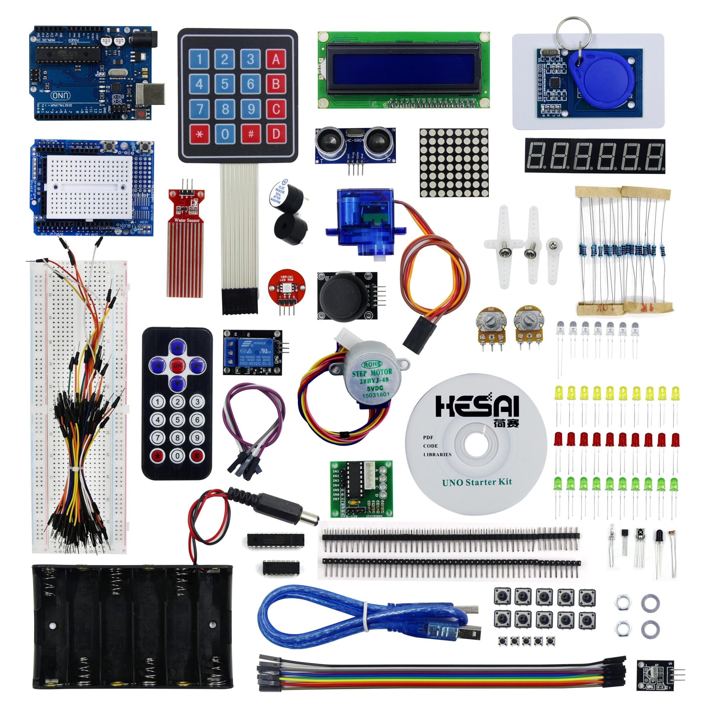 Starter Kit Uno R3 Breadboard And Holder Step Motor / Servo /1602 LCD / Jumper Wire Uno R3 Starter Kit