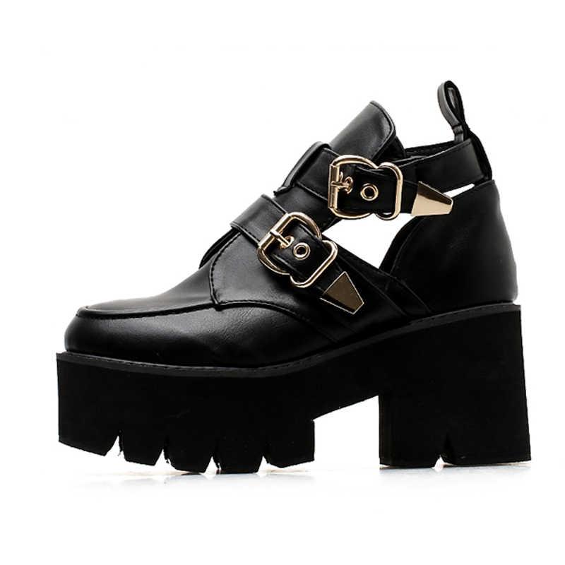 Moda ayakkabılar 2020 sonbahar ayakkabı platformu çizmeler yüksek topuk kış ayakkabı motosiklet botları bahar ayakkabı botas mujer YMA532-1