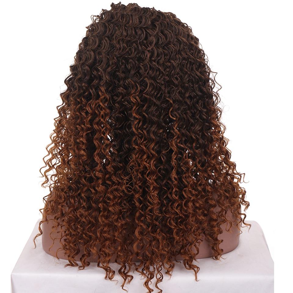 ombre marrom preto sintético headwrap peruca de cabelo
