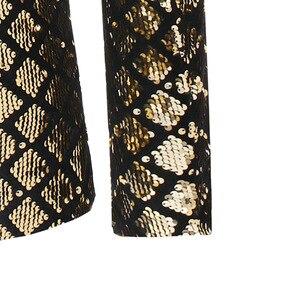 Image 5 - 光沢のあるスパンコールグリッターワンボタンジャケット男性ブレザーゴールドチェック柄パッチワークタキシードブレザー男性ナイトクラブウェディングパーティーステージ衣装