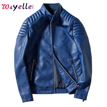 Faux Fur Coat Men 2019 Fall Winter Solid Fashion Warm PU Leather Jackets Zipper Punk Style Chic Stand Mens Jacket