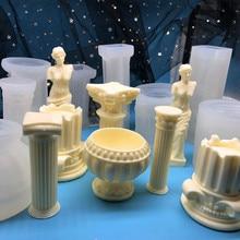 New European Roman Column Incense Candle Supplies Candel Molds Silicone Mold DIY Decorative Plaster Mold Torso