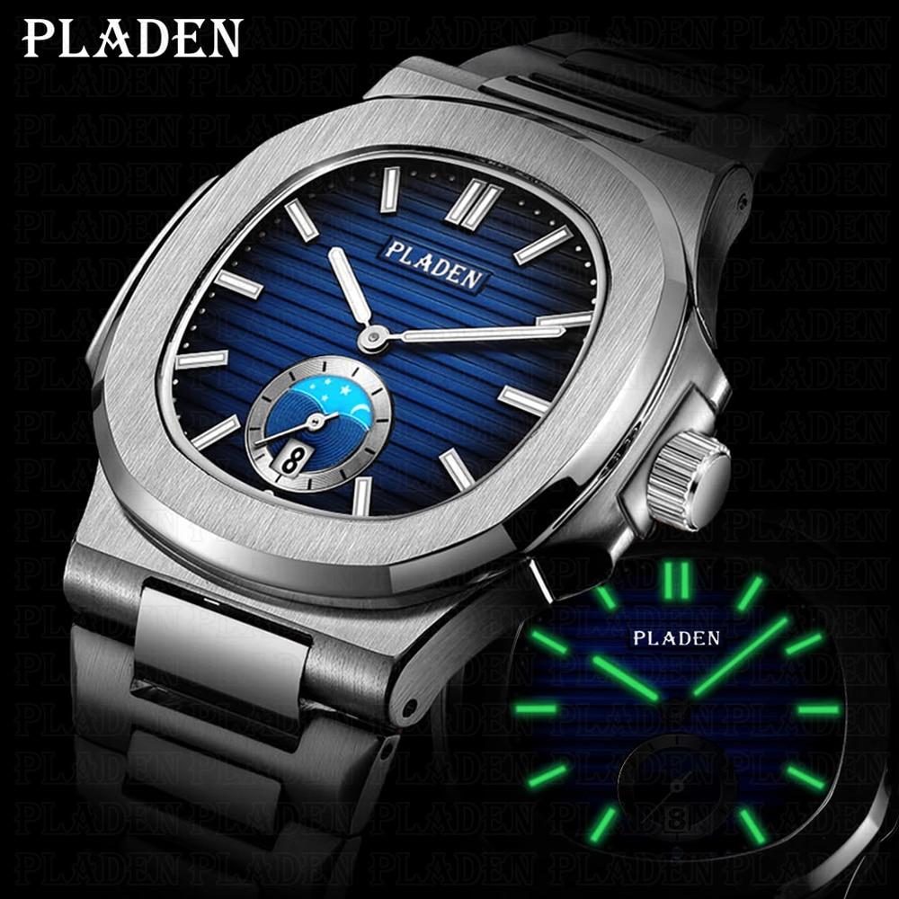 Часы наручные PLADEN Мужские кварцевые, роскошные брендовые автоматические деловые японские, с датой, для дайвинга, 2021