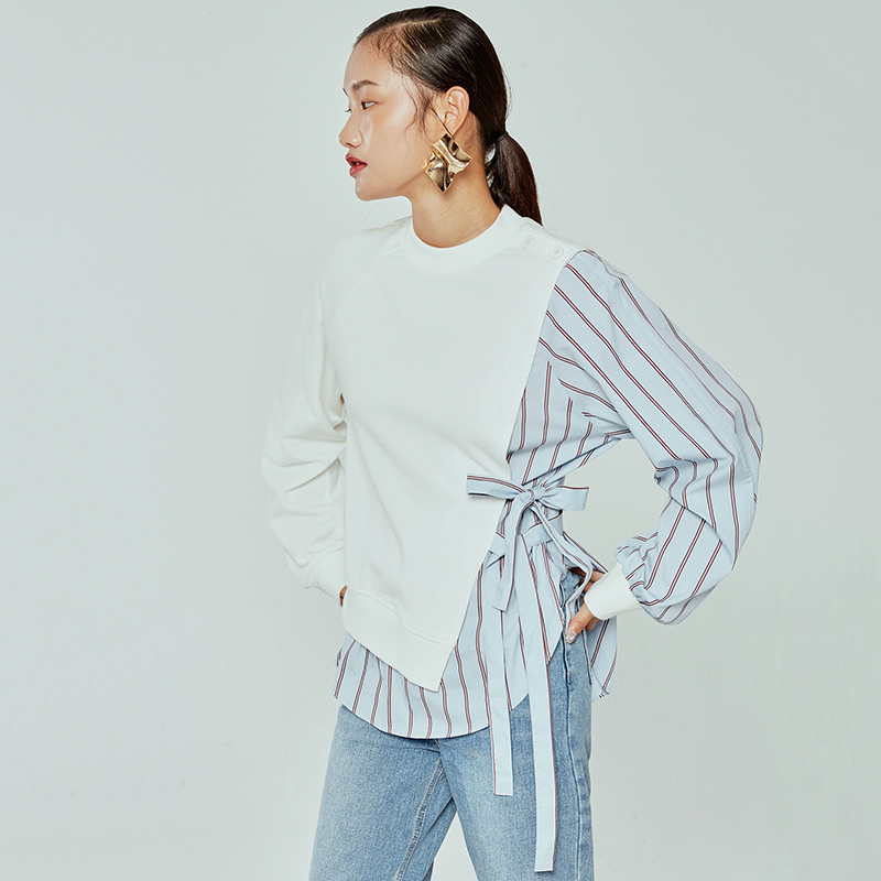 [EAM] Loose Fit Striped Spliced Hit Color Sweatshirt New Round Neck Long Sleeve Women Big Size Fashion Spring Autumn 2020 1B763 3