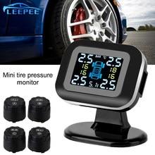 Mini usb tpms display lcd com 4 sensor externo sistemas de alarme segurança automática sistema monitoramento pressão dos pneus do carro sem fio