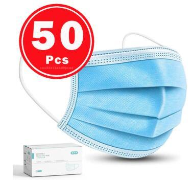 Face Mask Protective Masks Anti Virus Mouth Filter& Disposable Use &Soft Breathable  Flu Hygiene Masks 3-Layer Non-woven