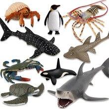 цены Simulation Great White Shark Whale Shark Marine Life Model Turtle Penguin Underwater World Children Animal Toys