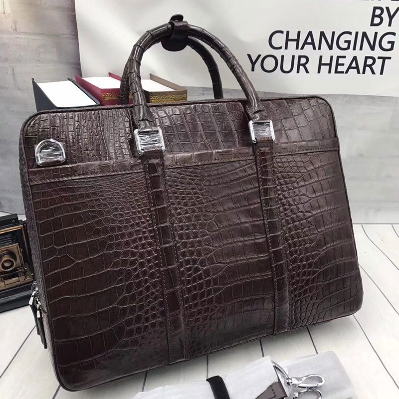 Mens Crocodile Belly Leather Briefcase Top Handle Bag Rossieviren Luggage &  Travel Gear Briefcases