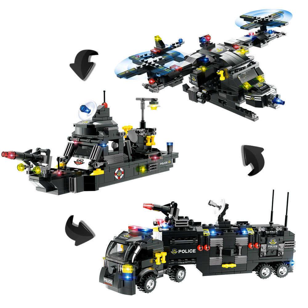 789 шт строительные блоки для городской полицейской станции, совместимые с Legoinglys городской спецназ, сборный грузовик, блоки, обучающие игрушки для мальчиков, детей