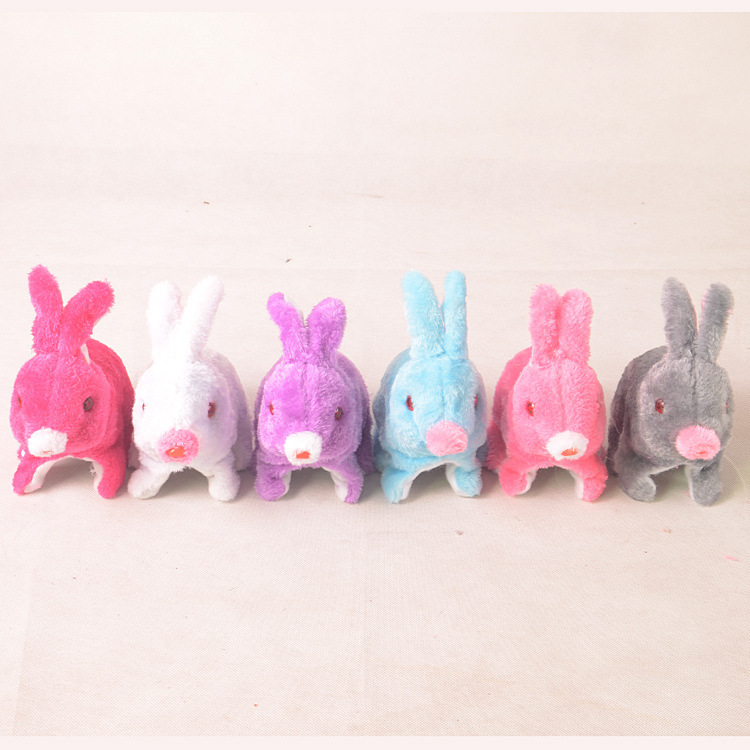 Electric Rabbit Plush Shining Rabbit Will Jump Will Call Model Bunny Glowing Toy Stall Supply Of Goods Wholesale