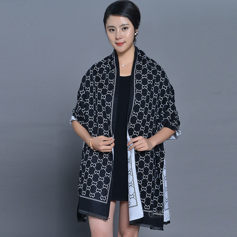 Women Cashmere Jacquard Air-conditioned Room Shawl Autumn And Winter National Wind Double-sided  Dual-use Scarf