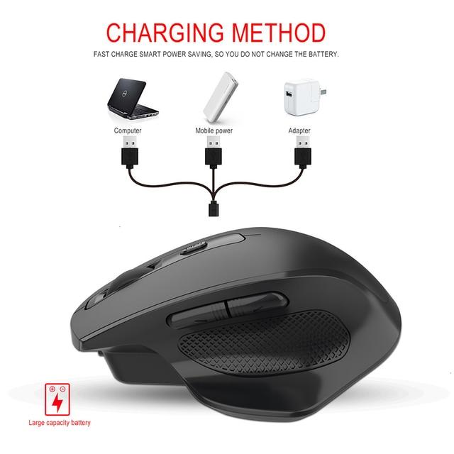 Jelly Comb-ratón inalámbrico para videojuegos, recargable, 2,4G, diseño ergonómico, 6 botones, silencioso, para portátil, Notebook, escritorio 5