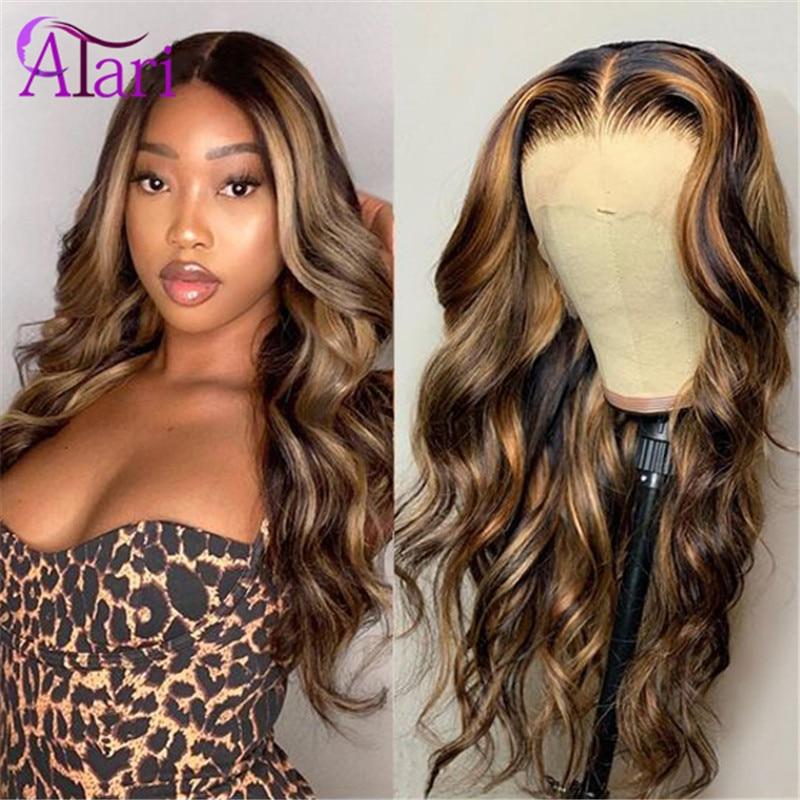Honig Farbe Omber Highlight Reines Haar Spitze Front Perücken Körper Welle Peruanische Transparent Spitze Frontal Perücken 100% Menschliches Haar Perücken