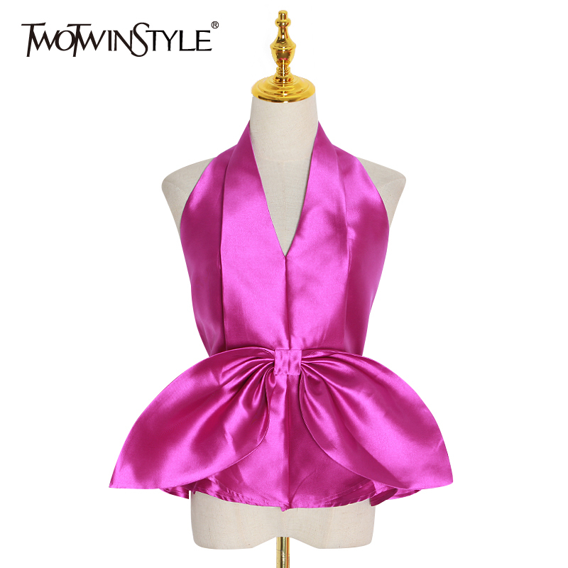 TWOTWINSTYLE Bowknot Chiffon Shirt For Women Halter V Neck Sleeveless Slim Sexy Party Shirts Top Female Summer Fashion New 2020