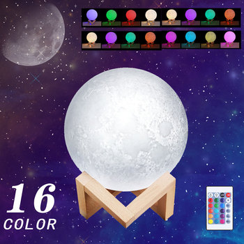 rechargeable 3d print moon light touch switch moon lamp 18cm 20cm led bedside bookcase night light home decororation luminaria Moon Lamp 3D Print Rechargeable Moon LED Night Light Creative Touch Switch Moon Light For Bedroom Decoration Birthday Gift