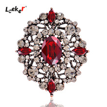 LEEKER Vintage Red Blue Black Oval Stone Pin Brooch For Women Retro Brooches Pins Jewelry 144 LK2