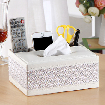 PU Leather Tissue Box Cover Desk Makeup Cosmetic Organizer Remote Controller Phone Holder Home Office Tissue Paper Napkin Box 5