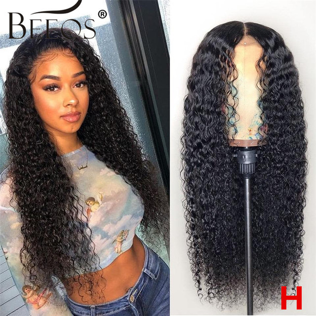 $ US $74.88 Beeos 180% 13x6 HD Transparent Lace Front Human Hair Wigs  Pre Plucked Curly Brazilian Hair With Baby Hair Bleached Knots