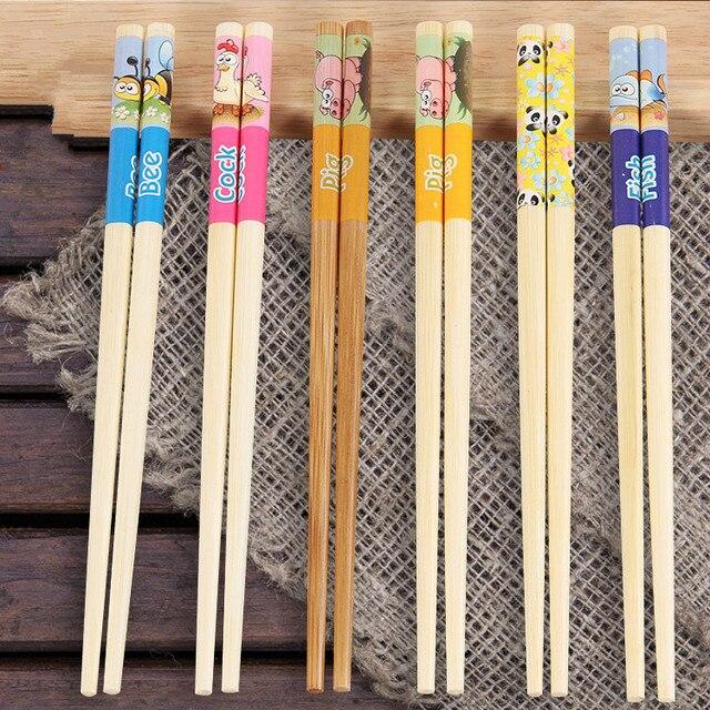 Фото 5 пар детских палочек для еды японские палочки бамбуковые студенческие