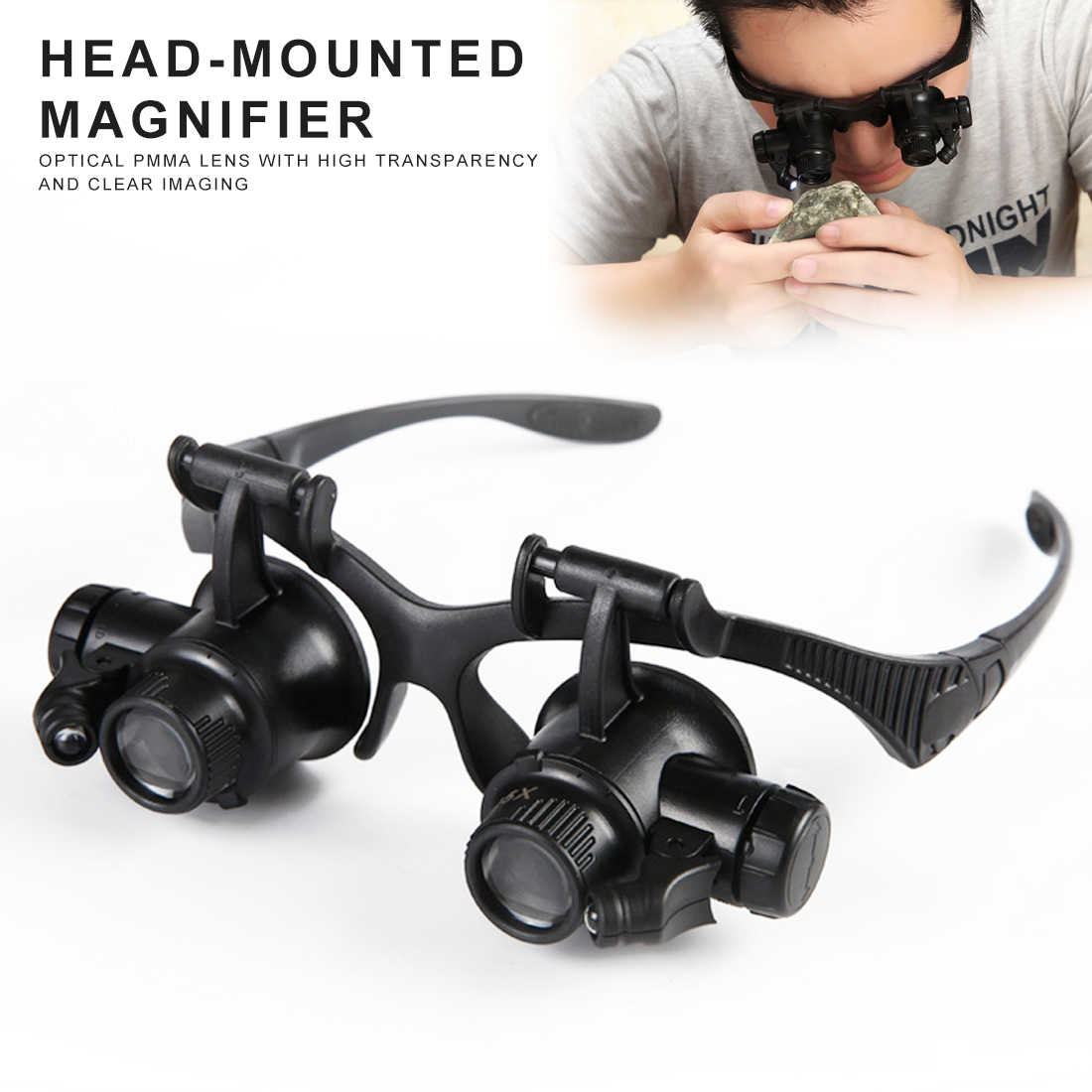 Magnifier with LED Light 10x 15x 20x 25x Headband Magnifier Glasses Jewelry Magnifying Loupe with LED Illuminated for Jeweler Repairing Miniature Engraving