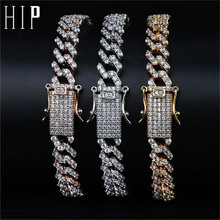 Hip Hop Full Iced Out Zircon Paved Rhinestones 10MM Miami Curb Cuban Chain Bling Rapper Bracelet For Men Jewelry