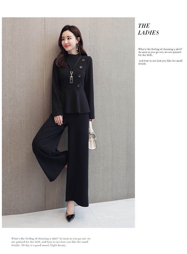 Black Grey Office Two Piece Sets Outfits Women Plus Size Buttons Tops And Wide Leg Pants Suits Elegant Fashion Ladies Suits 2019 50