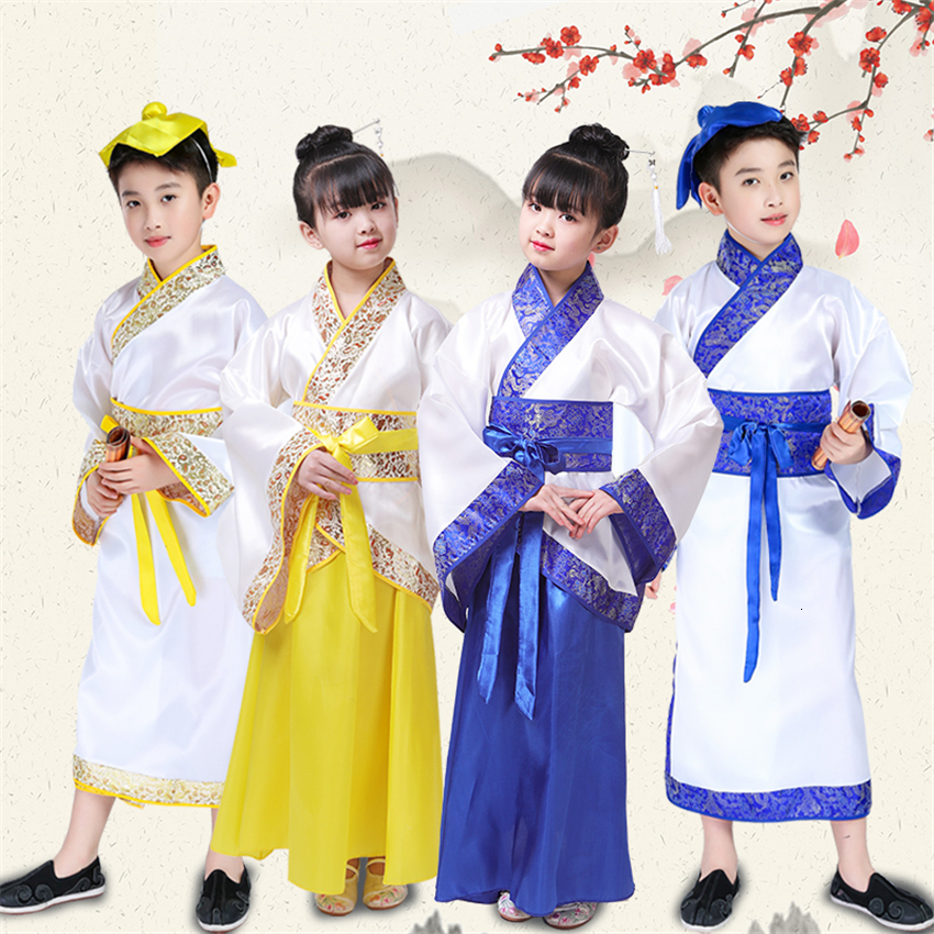 Kids Traditional Ancient Chinese Hanfu Festival Outfit Folk Dance Costume History Culture Stage Performance Clothing For Girls