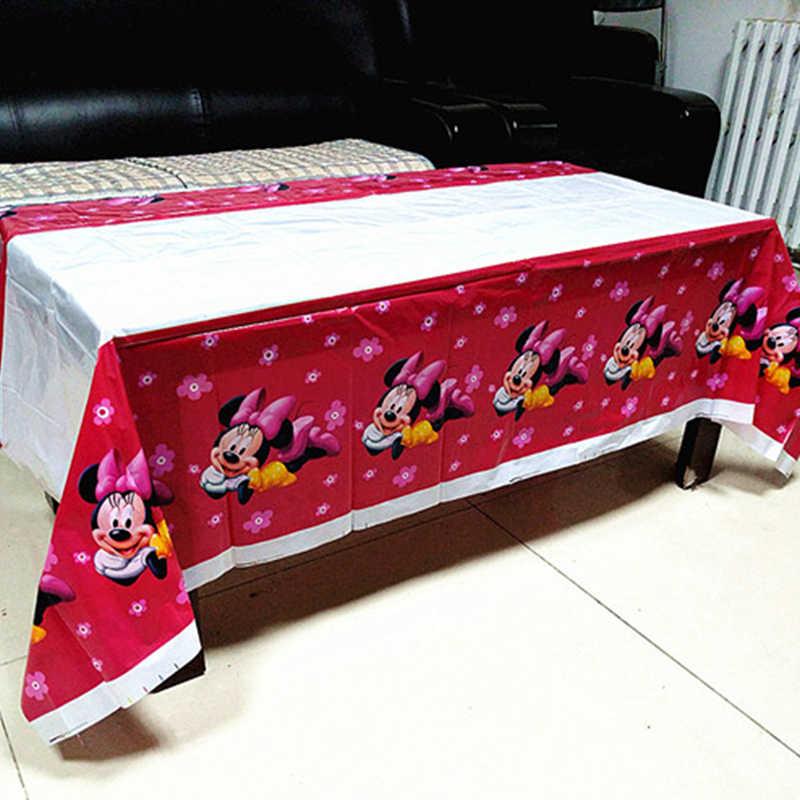 78 unid/set Minnie Mouse Party Supplies Sets mantel infantil Plates Cups Banner servilletas cucharas decoración de fiesta de cumpleaños para niños