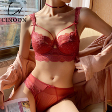 CINOON New Top Ultra-thin Underwear Set Push-up Bra And Panty Sets Hollow Brassiere Gather Sexy Bra Plus Size Lace Lingerie Set
