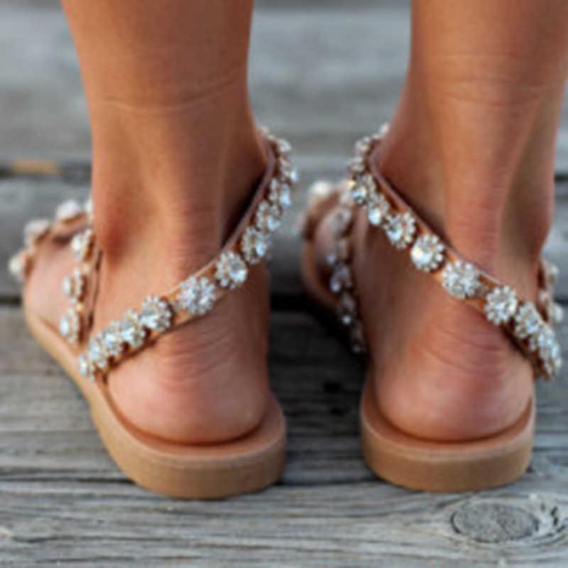 Sandały damskie Gladiator 2019 letnie obuwie Bohemia Mujer buty ślubne Crystal Feminina klapki damskie sandały plażowe