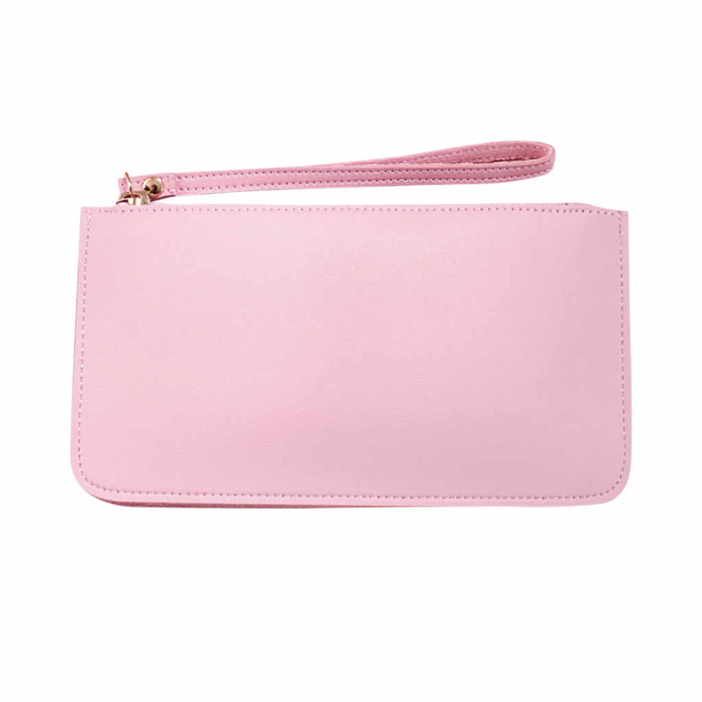 Woman High quality Brand Wallet Soft Face Double Wallet Large Capacity soild Coin Purse Student Clutch Bag Zip Key Wallet #ZA