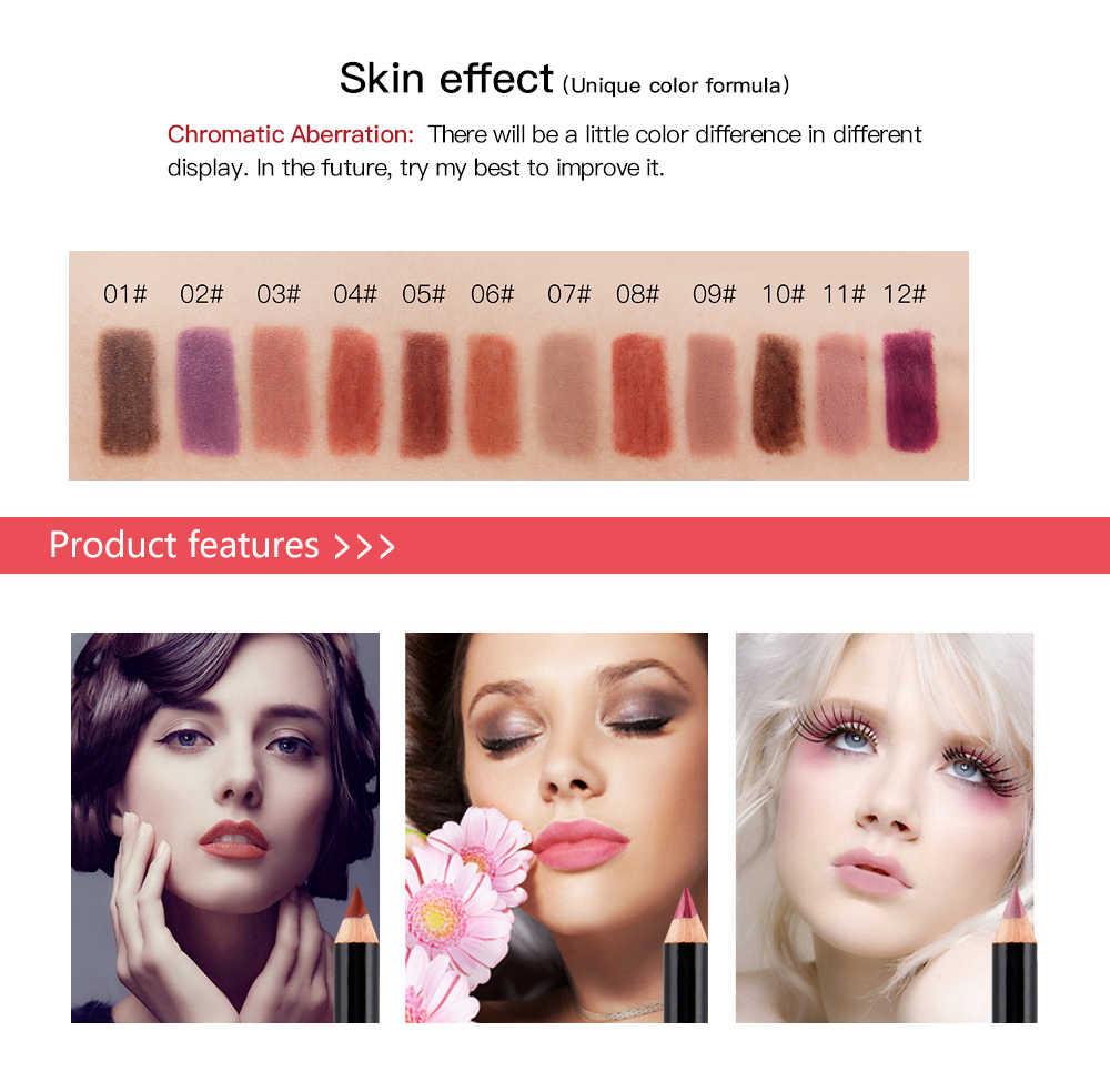 12 farben Matte Lip Liner Stift Langlebig Pigmente lip Make-Up Bleistift Wasserdicht Matte Lip Liner Lippenstift Stift Make-Up-Tool TSLM2