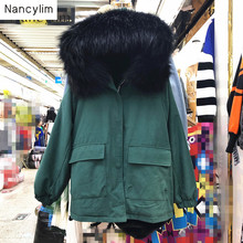 Womens Parka Casual Outwear Autumn Winter Military Hooded Coat Jacket Women Big Fur Coats Jackets