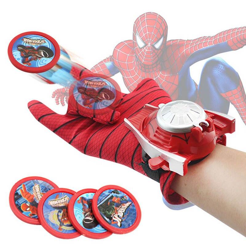 5 стилей ПВХ 24 см Бэтмен перчатка Фигурка Человека-паука пусковая игрушка для детей подходит Человек-паук косплей игрушки - Цвет: Spiderman launchers