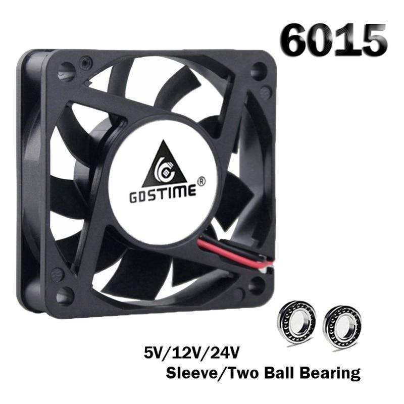 1pcs Gdstime 6015 5V 12V 24V 2Pin Brushless DC Exhaust Cooling Fan 6cm 60mm 60x60x15mm Equipment Cooler