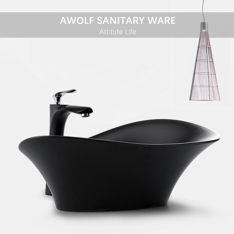 Bathroom Art Sinks Designer Basin Modern Ceramic Vessel Washing Bowl Black White Lavatory Sink With Drain Soft Hose AM938