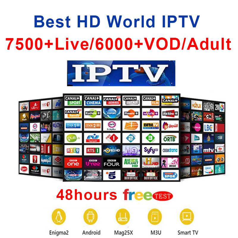 FHD World IPTV +7500 Live 6000 VOD 4K Channel Best For Europe Arabic Asian Africa Latino America Android M3U IPTV Subscription