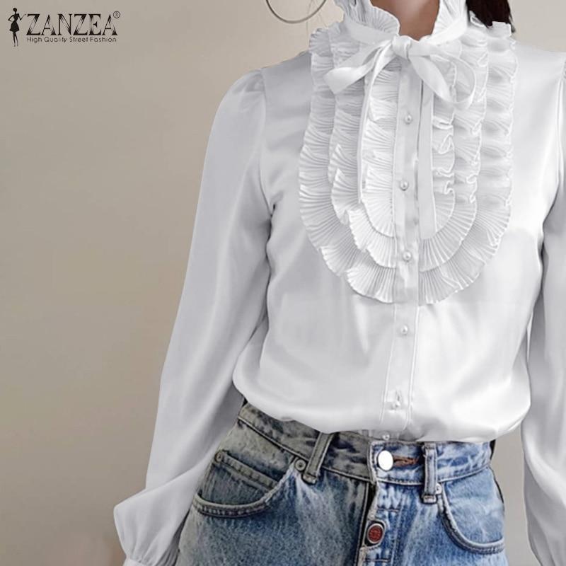 Women Vintage Ruffles Blouse Spring OL Work Shirt ZANZEA Casual Long Sleeve White Blouse Female Elegant Long Sleeve Tops Blusas