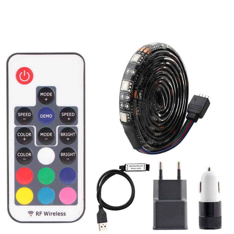 Car USB 5V LED Strip Light RGB PC 5050 60Leds/m 5V USB Strip Led Light Car Waterproof Tape Diode Lamp TV Backlight With Control