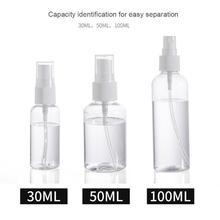 Пластик 100/50/30 мл пустая бутылка-спрей для путешествий косметической упаковки для макияжа многоразового использования бутылки духов распылитель контейнеры разные цвета