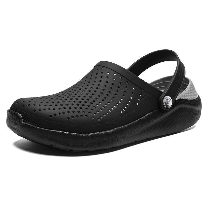 2020 男性サンダル陶製つぼ夏の穴の靴 Crok ゴム下駄男性 EVA ユニセックス庭の靴黒 Crocse ビーチフラットサンダルスリッパ