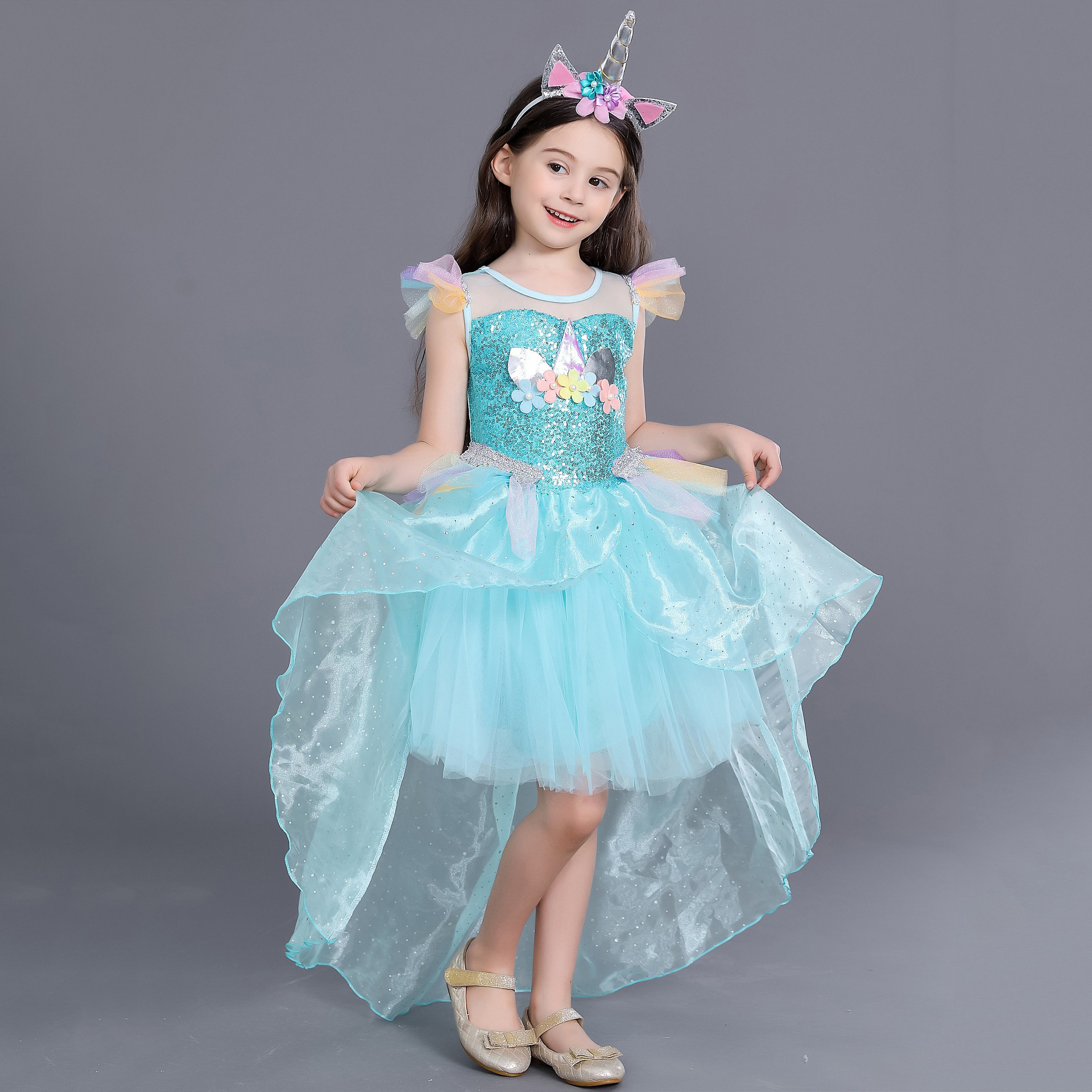 Unicorn Rainbow Fancy Sequin Cosplay Dress Up Birthday Outfits Carnival for Girl