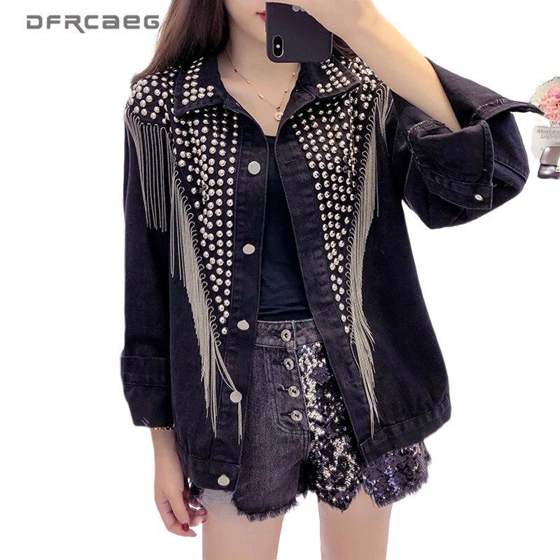 Black Oversized Rivets Women Denim Jacket With Tassel 2020 Spring Streetwear Vintage Ladies Jeans Jacket Coat Loose Outwear