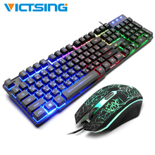 VicTsing Wired Gaming Mouse And Keyboard Set Mechanical 104 Key Backlight Computer Game USB Ergonomic Keyboards with Mouse Kit цена в Москве и Питере