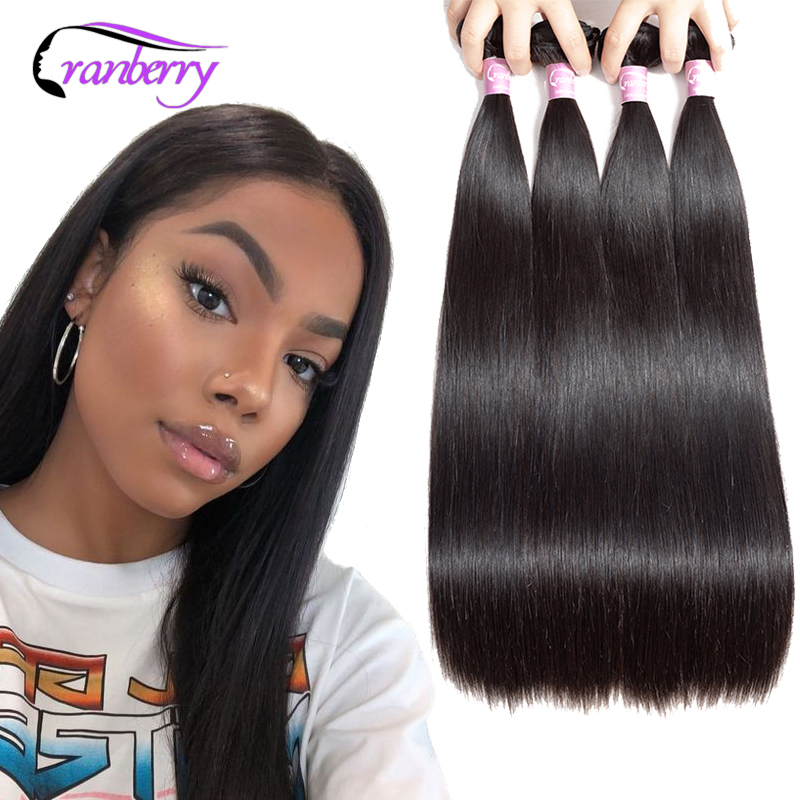 Cranberry Hair 4 Bundles Deal Brazilian Hair Weave Bundles Straight Hair Bundles 100% Remy Hair Bundles Weaves 100G/PC 8-26 Inch
